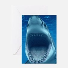 Big White Shark Jaws Greeting Cards