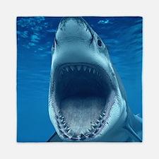 Big White Shark Jaws Queen Duvet