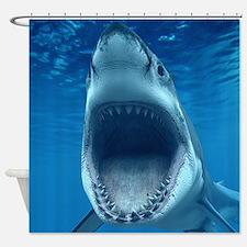 Big White Shark Jaws Shower Curtain