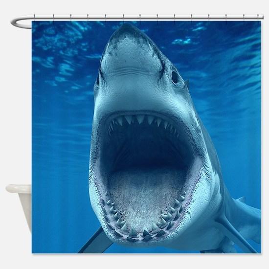 Big White Shark Jaws Shower Curtain. Shark Bathroom Accessories   Decor   CafePress