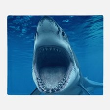 Big White Shark Jaws Throw Blanket