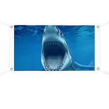 Big White Shark Jaws Banner