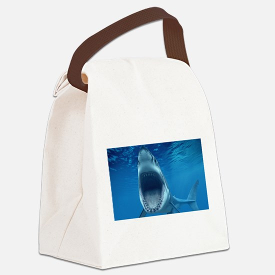 Big White Shark Jaws Canvas Lunch Bag