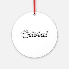 Cristal Classic Retro Name Design Ornament (Round)