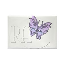 Multi Purple Butterfly - Whit Rectangle Magnet