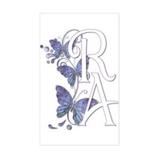Purple Butterflies - White RA Sticker (Rectangular