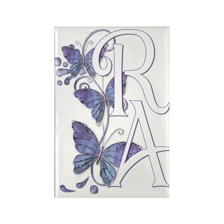 Purple Butterflies - White RA Rectangle Magnet