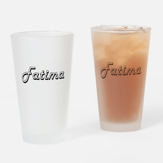 Fatima Classic Retro Name Design Drinking Glass
