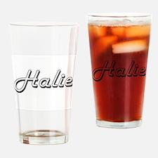 Halie Classic Retro Name Design Drinking Glass