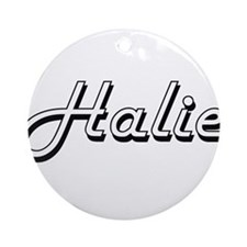 Halie Classic Retro Name Design Ornament (Round)
