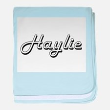 Haylie Classic Retro Name Design baby blanket