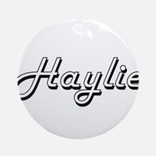 Haylie Classic Retro Name Design Ornament (Round)