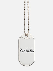 Izabella Classic Retro Name Design Dog Tags