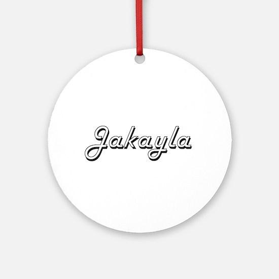 Jakayla Classic Retro Name Design Ornament (Round)