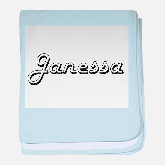 Janessa Classic Retro Name Design baby blanket