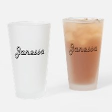 Janessa Classic Retro Name Design Drinking Glass