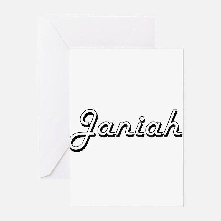 Janiah Classic Retro Name Design Greeting Cards