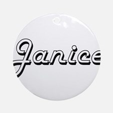 Janice Classic Retro Name Design Ornament (Round)