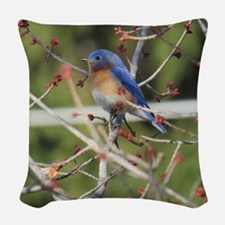 Red Bud Bluebird Woven Throw Pillow