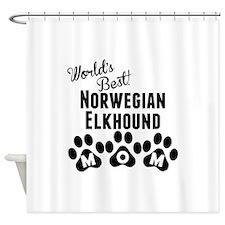 Worlds Best Norwegian Elkhound Mom Shower Curtain