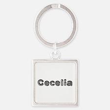 Cecelia Wolf Square Keychain