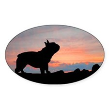 French Bulldog Sunset Oval Decal