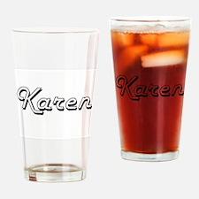 Karen Classic Retro Name Design Drinking Glass