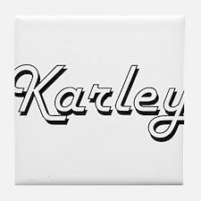 Karley Classic Retro Name Design Tile Coaster