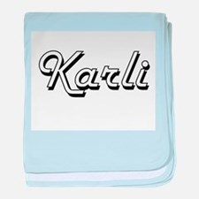 Karli Classic Retro Name Design baby blanket