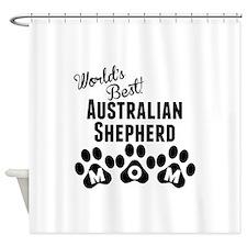 Worlds Best Australian Shepherd Mom Shower Curtain