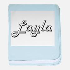 Layla Classic Retro Name Design baby blanket