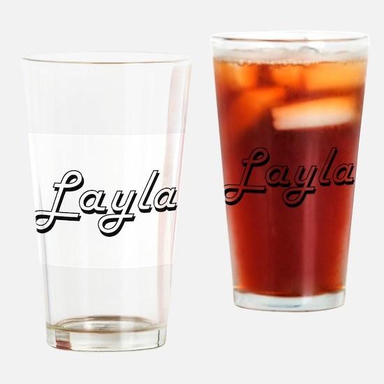 Layla Classic Retro Name Design Drinking Glass