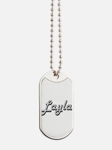 Layla Classic Retro Name Design Dog Tags
