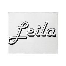 Leila Classic Retro Name Design Throw Blanket