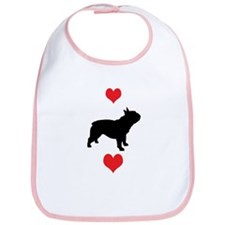 French Bulldog Red Hearts Bib