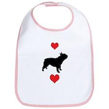 French Bulldog Red Hearts Bib