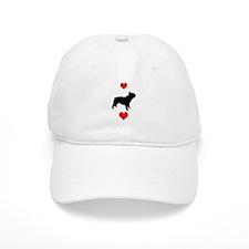 French Bulldog Red Hearts Baseball Cap