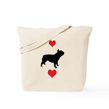 French Bulldog Red Hearts Tote Bag