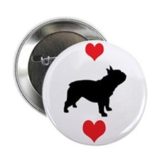 French Bulldog Red Hearts Button