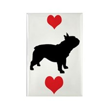 French Bulldog Red Hearts Rectangle Magnet