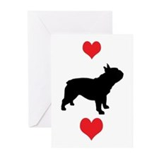French Bulldog Red Hearts Greeting Cards (Pk of 10