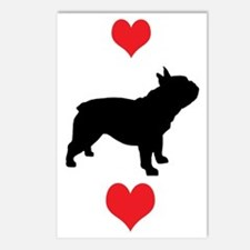French Bulldog Red Hearts Postcards (Package of 8)