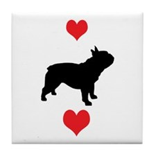 French Bulldog Red Hearts Tile Coaster