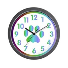 Unique Rainbow paw Wall Clock