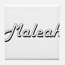 Maleah Classic Retro Name Design Tile Coaster