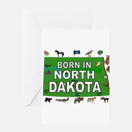 NORTH DAKOTA BORN Greeting Cards