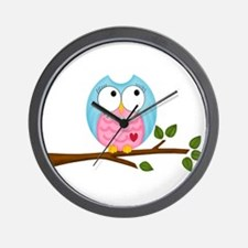 Pink Blue Owl in Pearls Branch Wall Clock