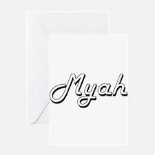 Myah Classic Retro Name Design Greeting Cards