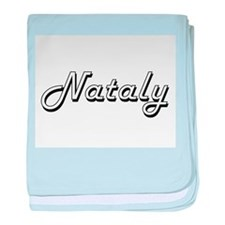 Nataly Classic Retro Name Design baby blanket
