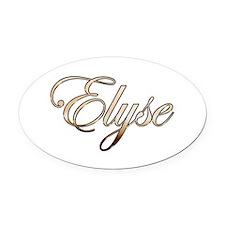Gold Elyse Oval Car Magnet